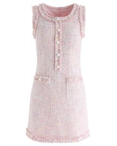 Faux Pearls Tasseled Tweed Sleeveless Dress