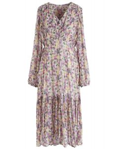 V-Neck Floral Pleated Midi Dress in Purple
