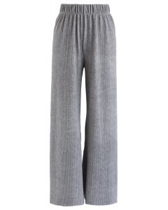 Corduroy Wide-Leg Pants in Grey