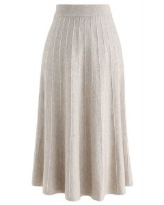 Striped Knit A-Line Midi Skirt in Sand