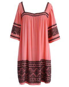 Boho Embroidery Square Neck Dolly Dress