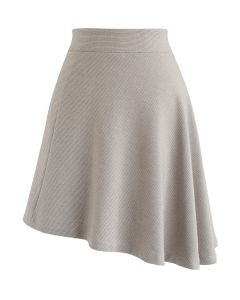 Houndstooth Asymmetric A-Line Skirt in Sand
