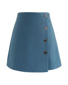 Basic Texture Button Trim Mini Skirt in Teal