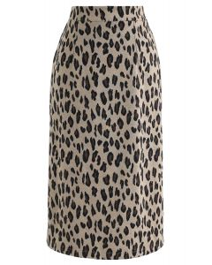 Tender Leopard Knit Pencil Midi Skirt in Tan