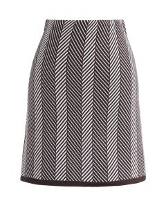 Rather Be Slant Stripes Knit Bud Skirt in Brown