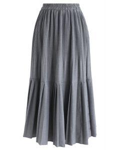 Pleated Hem A-Line Midi Skirt in Grey