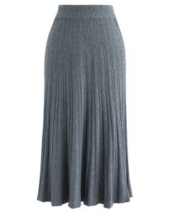 Twist Texture A-Line Knit Skirt in Grey