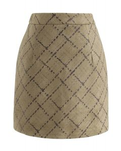Grid Pattern Faux Suede Bud Skirt in Olive