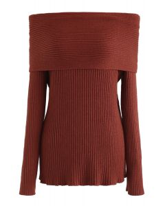 Off-Shoulder Ribbed Knit Sweater in Rust Red