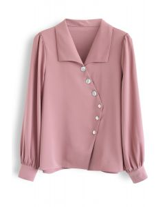 Slant Shell Button Down Shirt in Pink