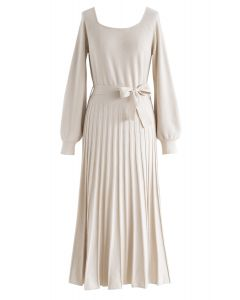 Square Neck Bowknot Pleated Knit Dress in Cream