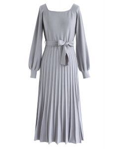 Square Neck Bowknot Pleated Knit Dress in Dusty Blue