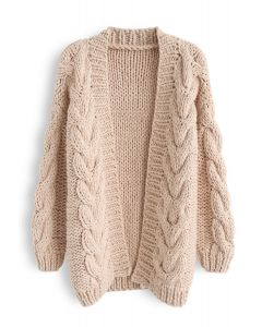 Cable Trim Chunky Hand Knit Cardigan in Light Tan