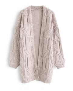 Cable Chunky Knit Longline Cardigan in Nude Pink