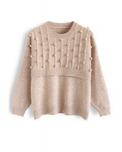 Round Neck Pom-Pom Trimmed Knit Sweater in Tan