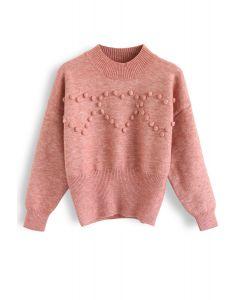 Pom-Pom Heart Knit Sweater in Pink