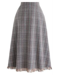 Plaid Tassel Hem A-Line Tweed Skirt in Teal