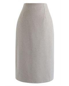 Split Hem Pencil Midi Skirt in Taupe