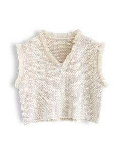 Basic Texture Raw Edge Knit Vest in Cream