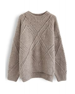 Diamond Hollow Out Oversized Knit Sweater in Taupe