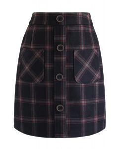 Plaid Button Front Mini Skirt