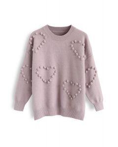Pom-Pom Embellished Knit Sweater in Lilac