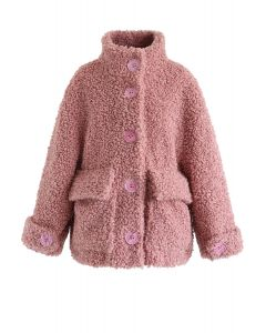 Buttoned Pocket Teddy Coat in Mauve