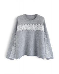 Slit Rolled Hem Crochet Trim Knit Sweater in Grey