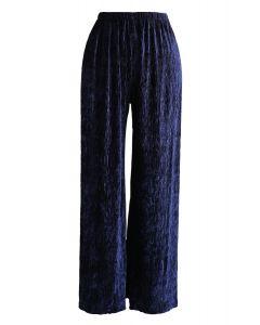 Velvet Wide-Leg Pants in Navy