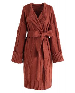 Braid Texture Belted Longline Cardigan