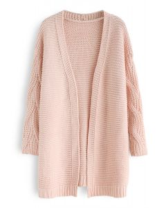 Cable Sleeves Knit Cardigan in Pink