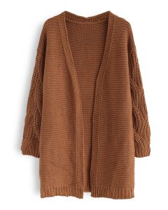 Cable Sleeves Knit Cardigan in Caramel