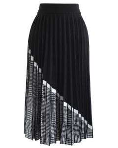 Houndstooth Hem Pleated Knit A-Line Midi Skirt