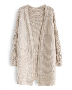 Cable Sleeves Knit Cardigan in Sand