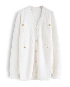 Golden Button Knit Cardigan in White