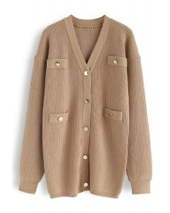 Golden Button Knit Cardigan in Tan