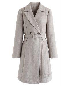 Herringbone Belted Pleated Coat Dress in Sand