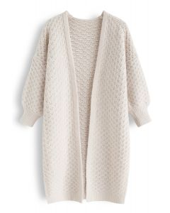 Split Hem Puff Sleeves Longline Knit Cardigan in Cream