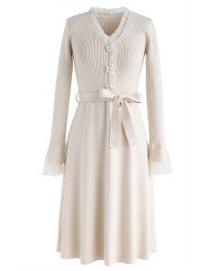 Mesh Inlaid Buttoned Bowknot Knit Dress in Cream