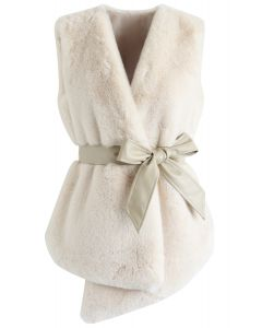 Asymmetric Faux Fur Vest with PU Leather Belt in Cream