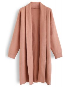 Shawl Neck Longline Cardigan in Coral