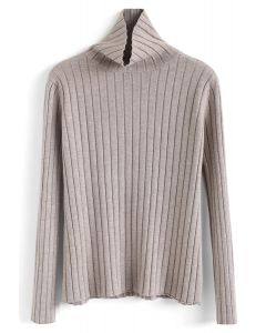 Turtleneck Sleeves Knit Sweater in Taupe
