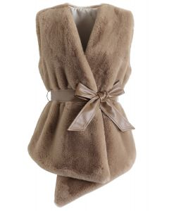 Asymmetric Faux Fur Vest with PU Leather Belt in Caramel
