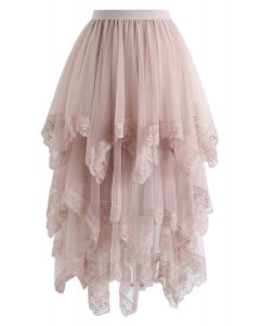 Lace Hem Asymmetric Layered Tulle Skirt in Pink