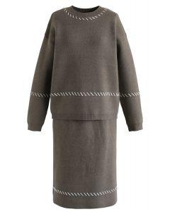 Slant Lines Trim Knit Top and Skirt Set in Olive