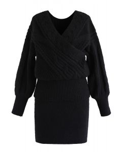 Fluffy Braid Texture Wrap Knit Sweater and Skirt Set in Black