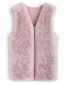Pink Mid-Length Faux Fur Vest
