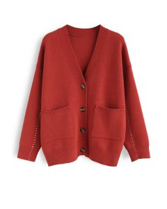 Pocket V-Neck Buttoned Knit Cardigan in Red