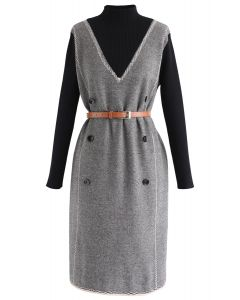 Belted Fake Two-Piece Knit Dress in Smoke