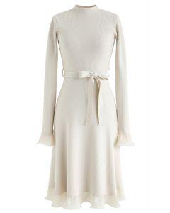 Bell Cuffs Mock Neck Knit Midi Dress in Cream